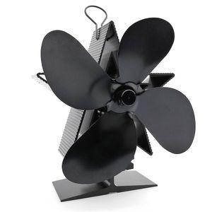 VONDA 4 Flügel Kaminofen Ventilator Stromloser Ofenventilator Flügel Gebläse Herd Lüfter, Schwarz