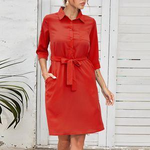 Damen Revers Solide Dame Elegantes Gürtel Hemd Dreiviertel Ärmel Business Kleid Größe:S,Farbe:Rot