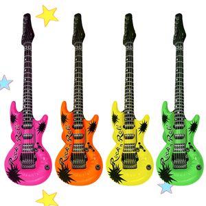 Aufblasbare Gitarre Luftgitarre Neon 106 cm Wasser Party Deko Rock