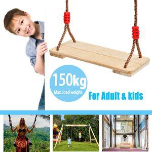 Holz Schaukelsitz mit Höhe Einstellbar Seile Load Kinderschaukel Brettschaukel -M