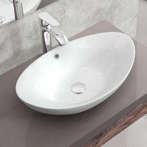 Keramik Waschschale Waschbecken Waschtisch Aufsatzwaschbecken NANO Bad WC 59x39x19cm WS72