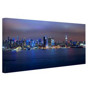 Leinwand Bilder - 120x80 cm - New York City Skyline bei Nacht  - Modernes Wandbilder - Amerikanische Städte