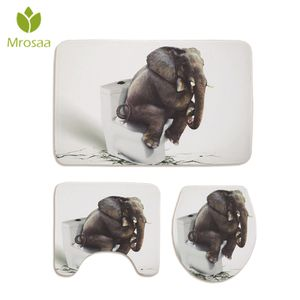 3D Elefant Bad Teppich Anti-Rutsch-Dusche Badewanne Matte Toilettendeckel Abdeckung Bodenmatte