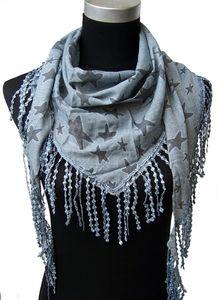 T5214 Dreiecktuch Sterne 85% Baumwolle Tuch Häkelspitze jeansblau Neu