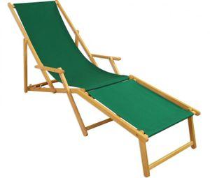 Liegestuhl Gartenliege grün Fußteil Sonnenliege Strandliege Holz Deckchair Gartenmöbel 10-304NF