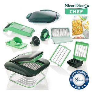Genius Nicer Dicer Chef | 15 Teile | grün | Obst + Gemüseschneider | große Schneidfläche