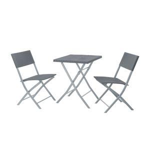 SVITA Poly-Rattan Bistro-Set Balkon-Set Klappmöbel Stuhl Tisch Garten-Möbel Grau