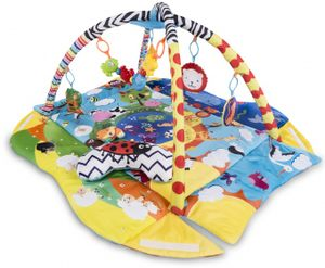 Lionelo Anika Spielmatte Baby Krabbeldecke für Baby Spielbogen Laufstallfunktion Spielzeuge im Set ab Geburt, Bunt