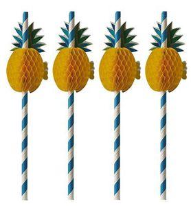 "PAPSTAR Papier-Trinkhalm ""Pineapple"" 200 mm blau/weiß"