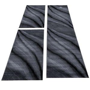 Teppich Läuferset Bettumrandung Teppichläufer Schatten Muster Schwarz meliert, Farbe:Schwarz, Bettset:2 mal 80x150 cm + 1 mal 80x300 cm