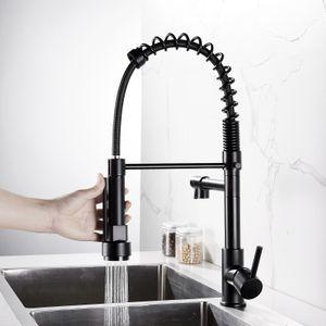 Zehnhase Küchenarmatur Schwarz mit Ausziehbar Brause Einzelgriff Küche Wasserhahn Mischen