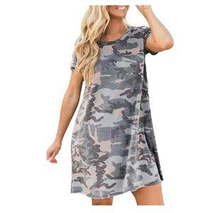 Frauen Kurzarm Kleid Camouflage Print Mode Kleid Tasche O-Neck Kleid Größe:S,Farbe:Grün