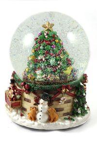 Schneekugel/Spieluhr mit Schneeantrieb & Licht, Weihnachtsbaum Ø150mm H.: 20cm
