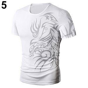Herrenmode Sommer Cool Style Kurzarm T-Shirt mit rundem Hals und Drachenmuster