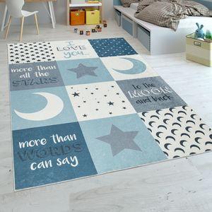 Kinderteppich Kinderzimmer Jungen Waschbar Herzen Sterne Mond Spruch Blau Grau, Grösse:80x150 cm