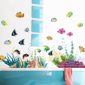 Wandtattoo UNTERWASSERWELT bunt I Wandbilder: 130x42 cm I Bad Aufkleber Fische Sticker Korallen See Meer I Wand Deko für Kinder Kinderzimmer Badezimmer Fliesen
