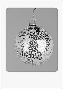 Deko-Kugel hängend 8cm Silberperlen glänzende Silberkugel aus Glas