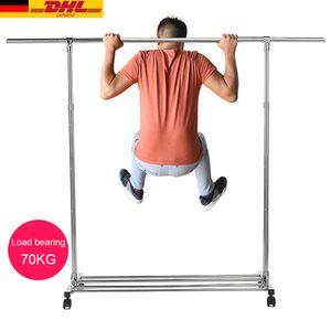 Schwerlast Kleiderständer Garderobe, auf Rollen, bis 70 kg belastbar, mit ausziehbarer Kleiderstange(110-180CM), zusammenklappbares Unterteil, mit 20 freie Haken einfache Montage
