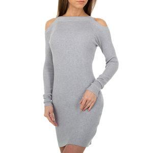 Ital-Design Damen Kleider Strickkleider Grau Gr.s/M