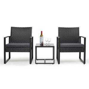Gartenmöbelset, Rattan Gartenmöbel-Set, Zwei Stühle und ein Tisch, Ergonomischer Korbsessel mit Kissen, Balkonmöbel Outdoor Tisch und Stuhl Set, Schwarz