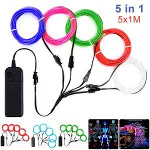 5*1m EL Kabel Neon Lichtschnur Leuchtschnur LED Licht Glühen Leuchtdraht Halloween Mehrfarben