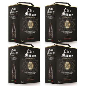 Bag-in-Box - Vin d'Italie - Nero Marone Rotwein, trocken 3 L., Box mit:4 Boxen