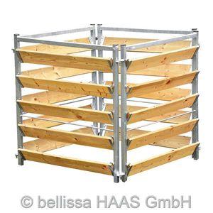 Komposter Holz Metall feuerverzinkt bellissa 100x100x100cm