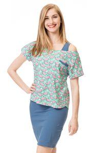 GFWL Umstandskleid Stillkleid #3in1 Schwangerschaftskleid Stillen GF2416XH in Minze mit pink-rosanen Melonen plus Blau, Größe Damen EU:38 Medium