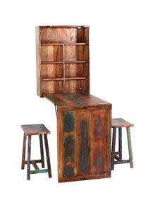 SIT Möbel Klapptisch mit 2 Hockern   Altholz lackiert bunt   zusammenklappbar   B 60 x T 25 x H 80 cm   09130-98   Serie RIVERBOAT