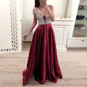 Damenmode V-Ausschnitt Abendparty Kleid Pailletten Formal Prom Langes Kleid Größe:M,Farbe:Kupfer