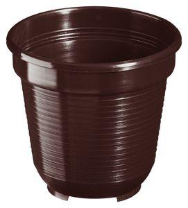 10er Set Pflanzkübel Blumentopf Standard 24 cm rund aus Kunststoff Sparpaket, Farbe:braun