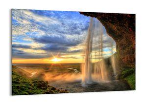 """Glasbild - 100x70 cm - """"Die Welt hinter einem Schleier aus Tropfen""""- Wandbilder  - Wasserfall Felsen - Arttor - GAA100x70-2716"""