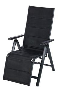 Countryside® Aluminium Relaxsessel, 7-fach verstellbare Rückenlehne, zusammenklappbar, mit Fußstütze, wetter- und UV-beständig, Maße: ca. 61,5 x 77,5 x 112,5 cm (B x T x H)