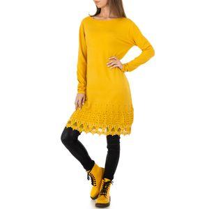Ital-Design Damen Pullover & Strick Longpullover Gelb