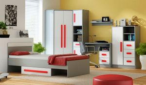 Jugendzimmer Komplett - Set B Olaf, 7-teilig, Farbe: Anthrazit / Weiß / Rot