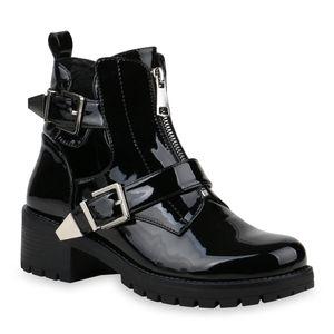 Mytrendshoe Damen Stiefeletten Schnallen Ankle Boots Cut-Outs Schuhe 835299, Farbe: Schwarz, Größe: 39