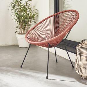 ACAPULCO eiförmiger Sessel - Terra Cotta  - 4-beiniger Sessel im Retro-Design, Kunststoffschnur, innen / außen
