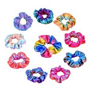 Haargummi Metallic glänzend - 10 Pcs bunt Scrunchies Bobbles Haarband Zopfband Haarring Haarschmuck