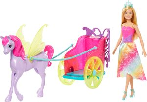 Barbie Dreamtopia Prinzessin Puppe, Pegasus und Kutsche