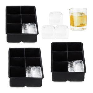 relaxdays 3x Eiswürfelform XXL Eiswürfel Silikon Eiswürfel Behälter Akku Silikonform Eis