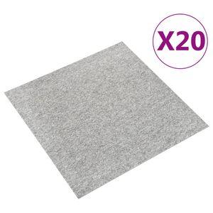vidaXL Teppichfliesen 20 Stk. 5 m² 50x50 cm Hellgrau