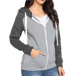 Frauen Reißverschluss Langarm Sport Casual Slim Basic Zip Up Kapuze Pocket Jacket Coat Größe:L,Farbe:Grau
