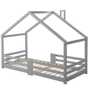 90 x 200 cm Kinderbett Hausbett mit Schornstein Rausfallschutz Robuste Lattenroste Kiefernholz Haus Bett, Maximale Gewicht 80 KG, Stark und langlebig