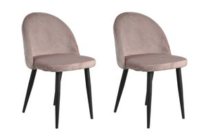 SIT Möbel Stuhl 2er-Set | Bezug Samt altrosa | Gestell Stahl schwarz | B 49 x T 52,5 x H 79 cm | 02446-24 | Serie SIT&CHAIRS