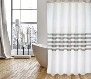 """Cotexsa by MSV Premium Anti-Schimmel Textil Duschvorhang - Anti-Bakteriell, waschbar, 100% wasserdicht, mit 12 Duschvorhangringen - Polyester, """"Jessen"""" Weiß Grau 180x200cm –  Spain"""