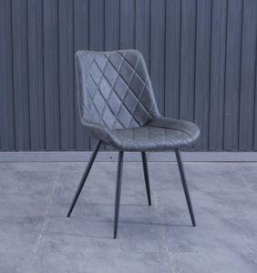 6x Stuhl Leder Grau mit Armlehne kurz