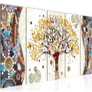 Gustav Klimt - Baum des Lebens BILD 200x80 cm − FOTOGRAFIE AUF VLIES LEINWANDBILD XXL DEKORATION WANDBILDER MODERN KUNSTDRUCK MEHRTEILIG 004655a