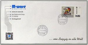 FDC mit 2cent Briefmarke 'von Leipzig in alle Welt' M-ware® ID13882