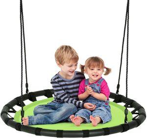 GOPLUS Nestschaukel mit Verstellbarer Höhe für In- und Outdoor, Mehrkindschaukel aus PP und Oxford-Gewebe, Belastbarkeit bis 150 kg, Tellerschaukel für Kinder und Erwachsene, Hängeschaukel (Grün)