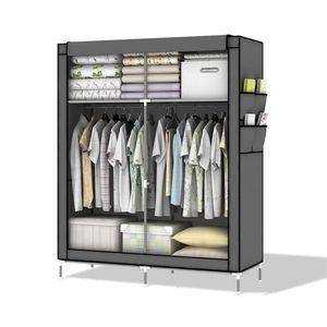 Faltschrank 108x170x45 cm mit Reißverschluss Kleiderschrank mit Kleiderstange ASCH GRAU